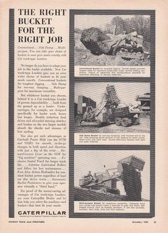 1963 Caterpillar Tractor Co Peoria IL Ad The Right Bucket for The Right Job