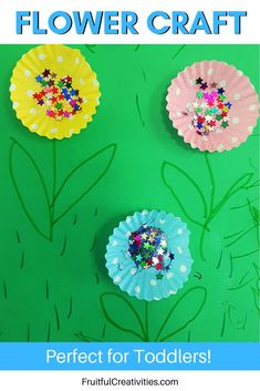 My little 3 year old girl loved this activity! It's a simple yet exciting craft for toddlers, and a great way to learn about day 3 of creation. #flowercraft #creationcraft #kidscraft #biblekidsactivitieis #toddlercraft Bible Crafts For Kids, Preschool Crafts, Bible Activities, Toddler Activities, Easy Toddler Crafts, Creation Crafts, Glitter Crafts, Christian Kids, Craft Corner