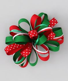 Take a look at this Green, Red & White Loopy Bow Clip by Bourbon Street Boutique on #zulily today!