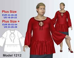 Plus size Tunic Sewing Pattern PDF, Women's sizes 18-28, Tunic sewing pattern
