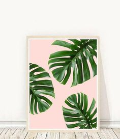 Wyświetl Tropical Prints od PinchofStyle w Etsy Simple Canvas Paintings, Small Canvas Art, Diy Canvas Art, Acrylic Painting Canvas, Diy Painting, Leaf Paintings, Tropical Leaves, Tropical Plants, Tropical Decor