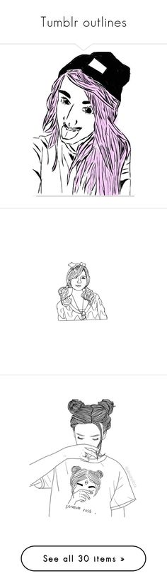 """""""Tumblr outlines"""" by girlies-tip2 ❤ liked on Polyvore featuring kawaii, fillers, drawings, doodles, outlines, art, text, backgrounds, detail and embellishment"""