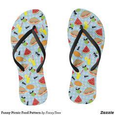 Funny Picnic Food Pattern Flip Flops Blue Gingham, Gingham Check, Decorating Flip Flops, Kids Flip Flops, Food Patterns, Picnic Foods, Chart Design, Food Humor, Kid Shoes