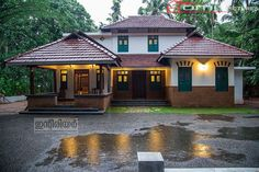 Simple landscape design front of house patio 20 trendy Ideas Kerala Traditional House, Traditional House Plans, Traditional Homes, Indian Home Design, Kerala House Design, Village House Design, Village Houses, Garden Front Of House, House Front
