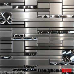 SAMPLE- Stainless Steel Metal pattern Mosaic Tile Kitchen Backsplash Wall Sink - Wall Tiles - Ideas of Wall Tiles Stainless Steel Countertops, Stainless Backsplash, Mosaic Backsplash, Mosaic Tiles, Wall Tiles, Backsplash Ideas, Tiling, Black Backsplash, Backsplash Design