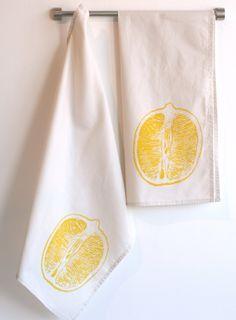 Lemon Tea Towel - Cream Cotton with lemon yellow print