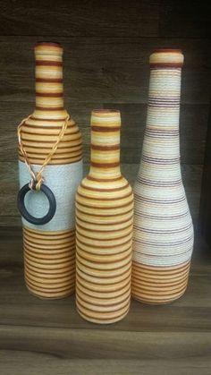 Trio de garrafas decorativas degradê                                                                                                                                                                                 Mais