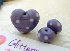 Lampwork Beads Glass Beads Etched Lavender Polka Dots for jewellery making  by GlitteringprizeGlass