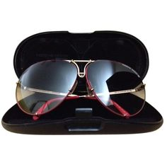 Pre-owned Vintage Porsche Design By Carrera (model 5621) (5.815.315 IDR) ❤ liked on Polyvore featuring accessories, eyewear, sunglasses, red, aviator sunglasses, gold aviators, red lens aviators, gold lens aviators and red aviators