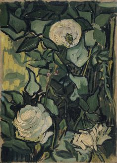 Roses by Vincent Van Gogh, oil on canvas 1890, is a small #vignette #painting of dense #rose bushes with faded pink #flowers and a tiny #ladybug crawling on a blossom. #VanGogh #poster #print #roses www.zazzle.com/justvangogh/gifts?cg=196946244951001179&rf=238581041916875857&tc=pin