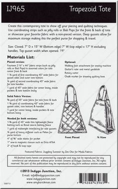 ON SPECIAL...Trapezoid Tote sewing pattern from Indygo Junction
