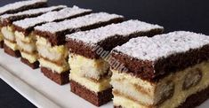 Creamy vanilla cuts with coffee flavor NejRecept. Czech Recipes, Tiramisu Cake, Chocolate Pies, No Cook Desserts, Graham Crackers, Dessert Bars, Baked Goods, Sweet Recipes, Bakery
