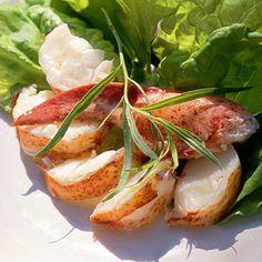 Tarragon Vinaigrette | Steamed lobster, chives, guac on tortillas drizzled w vinaigrette. Was amazing.