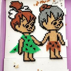 The Flintstones hama beads by Risus Pearler Bead Patterns, Perler Patterns, Craft Patterns, Diy Perler Beads, Perler Bead Art, Fred Feuerstein, Beaded Banners, Peler Beads, Iron Beads