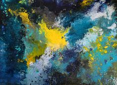 48 x 36 acrylic painting on canvas. Abstract art with blue, turquoise, yellow, black, and white. This painting has just sold, but feel free to check  out my other creations on my website.
