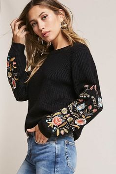Product Name:Woven Heart Embroidered Sweater, Category:sweater, Price:58