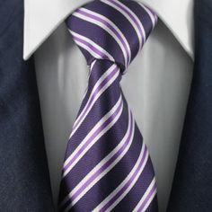 Navy & Purple Striped Neckties / Formal Business Neckties.