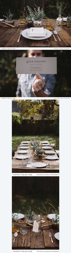 Thanksgiving table ~ This is simple and beautiful! ~ I'd LOVE to have an outdoor Thanksgiving dinner!