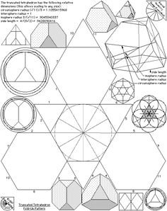 Archimedean Solids - Fold Up Patterns - The Geometry Code Solid Geometry, Sacred Geometry Patterns, Geometric Designs, Geometric Shapes, 3d Templates, Platonic Solid, Math Art, Shape And Form, Sacred Art