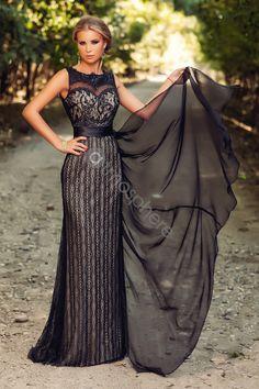 Rochie lunga neagra dantela cu trena din voal C 41250 - Atmosphere Fashion