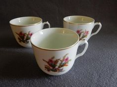 "Set of 3 - 1880's Charles Haviland & Co. Limoges ""Moss Rose"" Pattern Cups (No Saucers)"