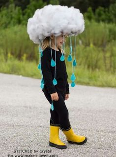 Make a quick & easy RAIN CLOUD COSTUME…Diy kids dress up, would be great to make togehter. tha base is simply a hat! Make a quick & easy RAIN CLOUD COSTUME…Diy kids dress up, would be great to make togehter. tha base is simply a hat! Crazy Hat Day, Crazy Hats, Diy Halloween Costumes For Kids, Diy Costumes, Scary Halloween, Homemade Costumes, Group Halloween, Zombie Costumes, Halloween Couples