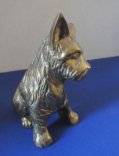 Scottish Terrier, Vintage Solid Brass Scotty Dog Figurine