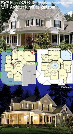Designs House Plan has a wraparound porch that looks great. - Villa Plan - Architectural Designs House Plan has a wraparound porch that looks great. Dream House Plans, House Floor Plans, My Dream Home, Dream Houses, Large House Plans, Rustic House Plans, Family House Plans, Modern Farmhouse Plans, Architectural Design House Plans