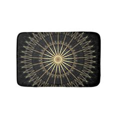 Black Gold Chevron Mandala Bathroom Mat