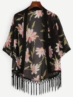 To find out about the Black Flower Print Macrame Fringe Chiffon Kimono at SHEIN, part of our latest Kimonos ready to shop online today! Kimono Outfit, Kimono Cardigan, Kimono Fashion, Modest Fashion, Hijab Fashion, Boho Fashion, Kimono Top, Fashion Outfits, Fringe Kimono