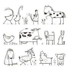 Funny Cartoon Farm Domestic Animals Collection for. - - Funny Cartoon Farm Domestic Animals Collection for… – - Doodle Drawings, Easy Drawings, Simple Animal Drawings, Funny Drawings, Animal Line Drawings, Coloring For Kids, Coloring Books, Animal Doodles, Animal Sketches