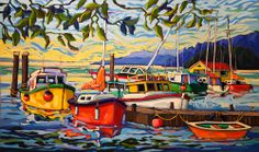 Greta Guzek - MOMENTARY CALM (30x50) Nautical Painting, Boat Painting, Learn To Paint, Beach Art, Pictures To Paint, Painting Patterns, Amazon Art, Acrylic Art, Local Artists