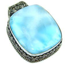 $148.15 Big!+Exotic+Beauty+AAA+Blue+Larimar+Sterling+Silver+Pendant at www.SilverRushStyle.com #pendant #handmade #jewelry #silver #larimar