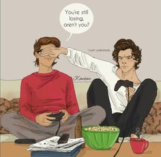 Harry is so beast at video games...Louis thinks differently.