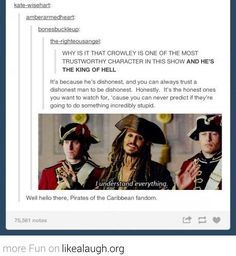 The Pirates get it. Also Mark Sheppard needs to be on Sherlock (after S3, I feel like if we say it enough, it will come to pass)