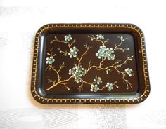 Vintage TV TRAY  1950s Metal Serving Tray  Blue by NikNakNook, $16.50