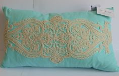 """Storehouse Pillow 14"""" X 27"""" Aqua With Embroidered Cream Applique NWT"""