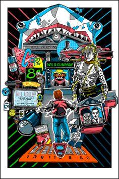 """Retour vers le futur """"2015"""" par Tim Doyle Sérigraphie originale inspirée de la trilogie """"Retour vers le futur"""" de Robert Zemeckis 40,6 x 61cm (inclus une couleur phosphorescente) Edition limitée 150 exemplaires (II) Sérigraphie numérotée et signée par l'artiste"""