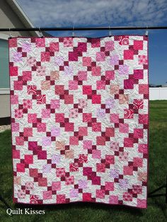 This quilt took me a long time to make (about four months start to finish) because I had to keep setting it aside to finish other proje. What Is Amazing, Ombre Fabric, Black And White Heart, Nine Patch Quilt, Alphabet Print, Shih Tzu Puppy, Star Quilts, Free Motion Quilting, Heart Print