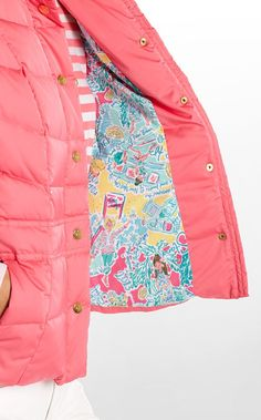 Lauren Puffer Vest. love the lining! WHAT A GREAT WAY TO BRING PRETTY SUMMER COLORS INTO FALL! <3