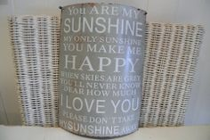 """You Are My Sunshine - Divine Shabby Chic Curved Wall Hung Sign   Metal sign on vintage grey backdrop and white font  """" You are my SUNSHINE  my only sunshine you make me  HAPPY  when skies are grey you'll never know dear how much  I LOVE YOU  please don't take my  SUNSHINE away """"  Measuring 22x30cm Approx.  A perfect gift for a loved one  £7.25    All at www.divineshabbychic.co.uk"""