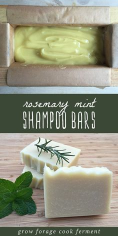 Rosemary Mint Shampoo Bars Making your own homemade and all natural bath and beauty products is a straightforward and rewarding process. Homemade shampoo bars are similar to homemade soap, but with slightly different ingredients that are good for healthy Diy Shampoo, Homemade Shampoo And Conditioner, Diy Cosmetic, Homemade Soap Recipes, Homemade Soap Bars, Homemade Deodorant, Homemade Beauty Products, Natural Products, How To Make Beauty Products