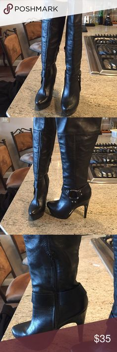 Jessica Simpson leather upper boots Jessica Simpson leather upper platform boots worn a handful or less times.  The platform is like a black patent, very biker nice!!  Five inch heel. Jessica Simpson Shoes Heeled Boots