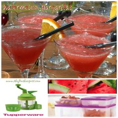 WATERMELON MARGARITAS 2 cups cubed, seeded watermelon, frozen 3/4 cup tequila 1/3 cup triple sec 1 Tablespoon sugar2 Tablespoons lime juice 2 cups crushed ice For Garnish: granulated sugar (optiona…