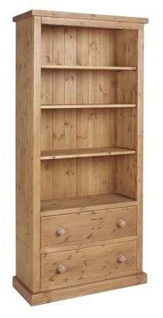 Pine Bookcase with Drawers - Avon Pine Dining