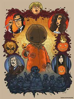 Trick R' Treat fan art by Chris Raimo- love it! Halloween Horror, Halloween Art, Halloween Window, Halloween Images, Arte Horror, Horror Art, Spooky Scary, Creepy, Sam Trick R Treat