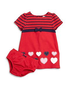 Hartstrings - Baby's Two-Piece Heart Ponte Dress & Bloomers Set