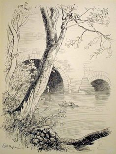 """Mole and Ratty boating on the river  by E. H. Shepard (from """"The Wind in the Willows"""" by Kenneth Grahame, Methuen, 1931)"""