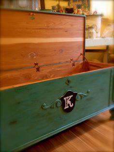 vintage cedar chest in turquoise with chalkboard art