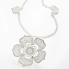 Brigitte Adolph - Silver Tea Rose Pendant Necklace - ORRO Contemporary Jewellery Glasgow